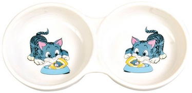 Trixie Cat Ceramic Double Bowl