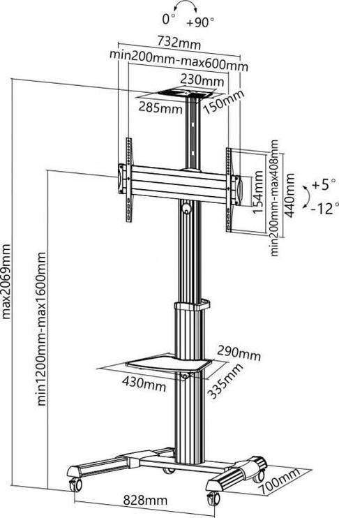 Sbox FS-446 Floor Trolley Led TV Stand Black/Silver
