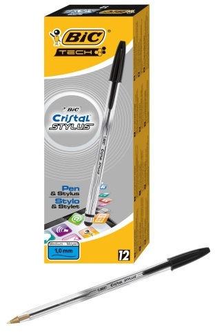 BIC B12 Cristal Stylus Ball Pen Black 12pcs