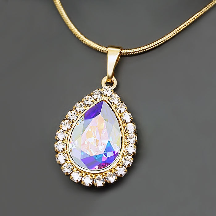 Diamond Sky Pendant Celestial Drop Aurore Boreale With Swarovski Crystals