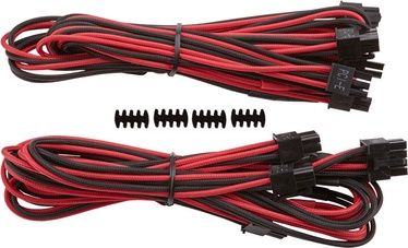 Corsair Premium Individually Sleeved PCIe Cables with Dual Connectors, Type 4 (Gen 3) Red/Black