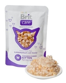 Konservi kaķiem Brit Care Cat Chicken & Cheese Kitten Pouch 0,08kg
