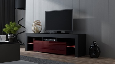 TV staliukas Pro Meble Milano 160 With Light Black/Red, 1600x350x450 mm