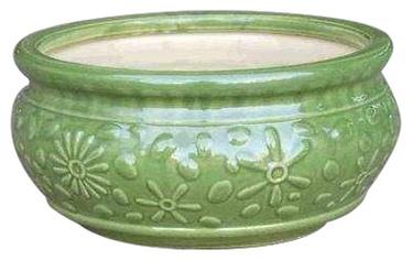 Puķu pods keramikas  IP13-652, zaļš