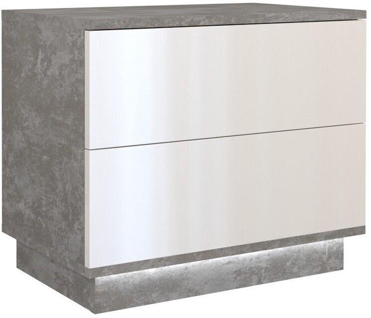 Naktinis staliukas Top E Shop S2 Sela, baltas/pilkas, 55x35x47 cm