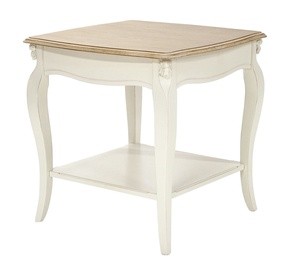 Kohvilaud Home4you Elizabeth Antique White/Brown, 600x600x600 mm