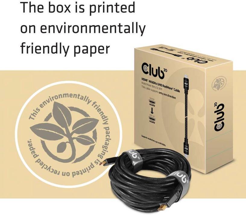 Club 3D HDMI 2.0 4K60Hz RedMere Cable 10m Black