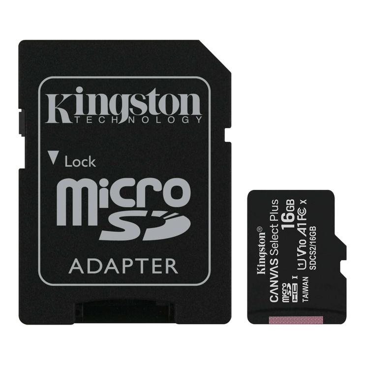 Atminties kortelė Kingston 16GB CL10 MicSDHC+adapteris