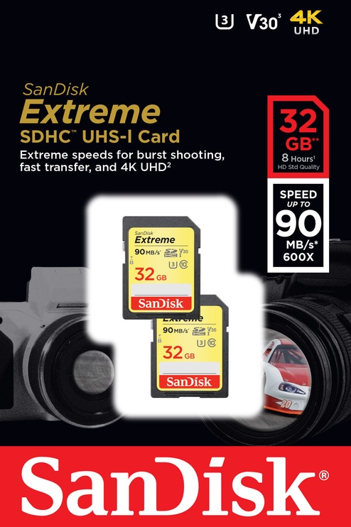 SanDisk 32GB Extreme SDHC UHS-I U3 Class 10 Pack Of 2