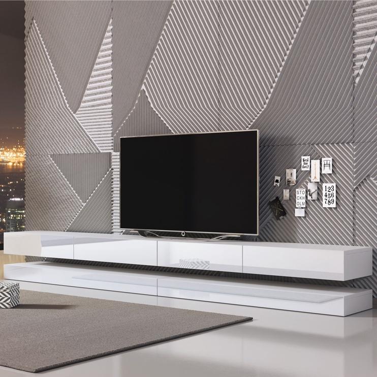 TV galds Vivaldi Meble Fly Double, balta/pelēka, 2800x340x450 mm