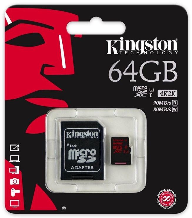 Kingston 64GB microSDXC UHS-I Class 10 + Adapter