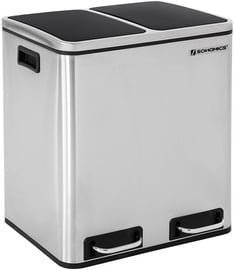 Songmics Garbage Can Silver/Black 75.5x41cm