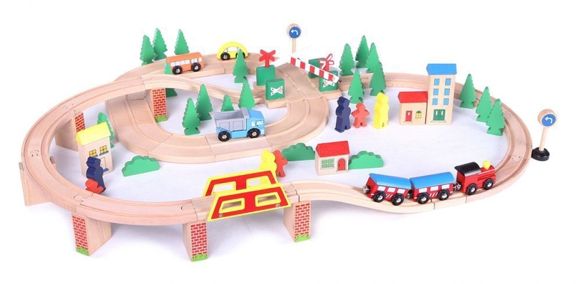 EcoToys Wooden Railway 75pcs HJD93940