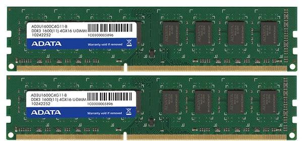 ADATA 8GB 1600MHz DDR3 CL11 KIT OF 2 AD3U1600W4G11-2