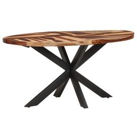 Обеденный стол VLX Solid Acacia Wood with Sheesham Finish 321674, коричневый/черный, 1600 мм x 900 мм x 750 мм