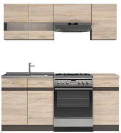 Virtuvės baldų komplektas Black Red White Junona Sonoma Oak/Wenge, 1.8 m