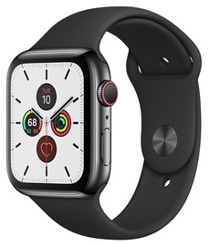 Apple Watch Series 5 44mm Space Black Stainless Steel Case with Black Band Cellular S/M & M/L