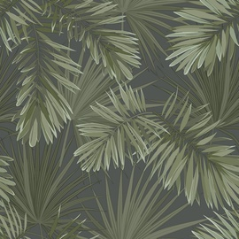 Flizelino pagrindo tapetas Ecodeco EE22534 antracito spalvos palmės