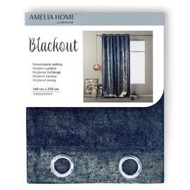 Nakts aizkari AmeliaHome Blackout Veras, zila/zelta, 1400x2500 mm