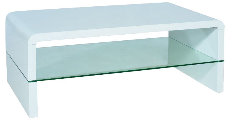 Kafijas galdiņš Signal Meble Modern Rica Glossy White, 1100x600x450 mm