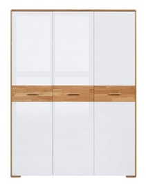 Black Red White Bari Wardrobe 153x205cm Oak/White