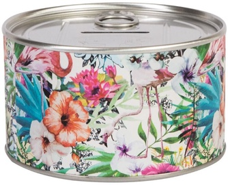Home4you Tin Bank D10xH6cm Flowers 77095