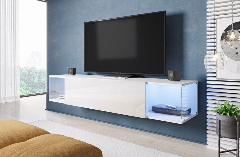 TV galds Cama Meble RTV Vigo Sky, balta, 1600x400x300 mm