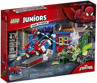 Konstruktors LEGO Juniors Spider-Man vs. Scorpion Street Showdown 10754