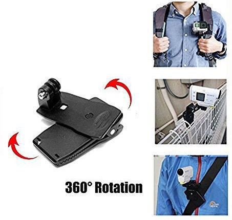 SJCam 360 Degree Rotation Rotating Backpack Clipblack