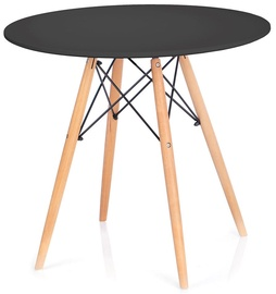 Pusdienu galds Homede Tebe, melna/ozola, 850x850x720mm