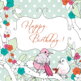 Clear Creations Mint Green & Pink Birds Birthday Card CL1502