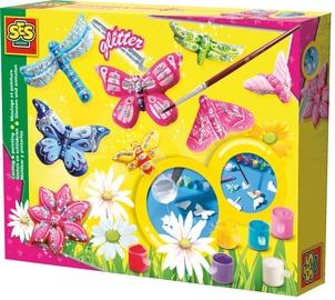 Gipsinių figūrų gaminimo rinkinys SES Creative Butterfly Glitter Casting & Painting Set 01131