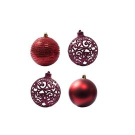 Ziemassvētku eglītes rotaļlieta Christmas Touch N3/8004BSYR, sarkana, 80 mm, 4 gab.