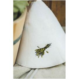 Kepurė pirties su vantelės paveikslėliu, balta 100% vilna