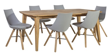 Home4you Retro/Seiko Dining Set Light Grey/Oak