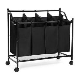 Ящик для белья Songmics Laundry Cart 4 Bags Black