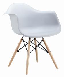 Plastmasas krēsls ar koka kājām PP-620, balts