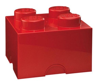 LEGO Storage Brick 4 Knobs Medium Red