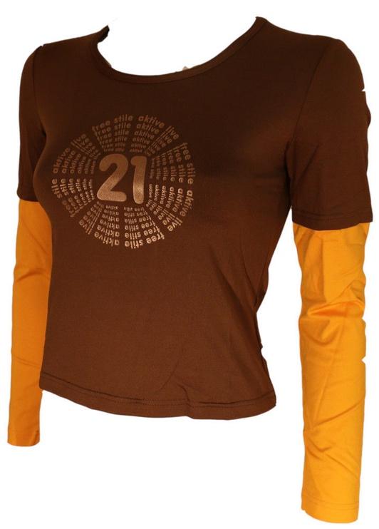 Футболка с длинными рукавами Bars Womens Long Sleeve Shirt Brown/Yellow 135 L
