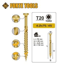 Саморез по дереву Forte Tools Terrace Wood Screws T20 Zn 4.2x75mm 200pcs Yellow