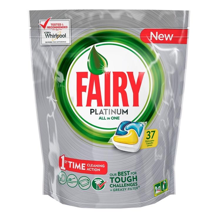 Indaplovių kapsulės Fairy Platinum Lemon, 37 vnt.
