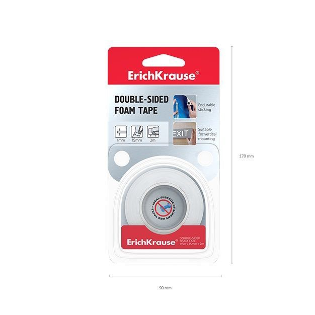 ErichKrause Double Sided Foam Tape 1mmx15mmx2m