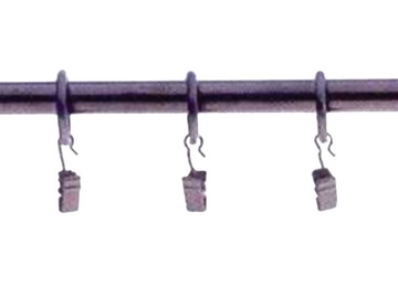 Aizkaru stangas stienis D16, 160cm, melns