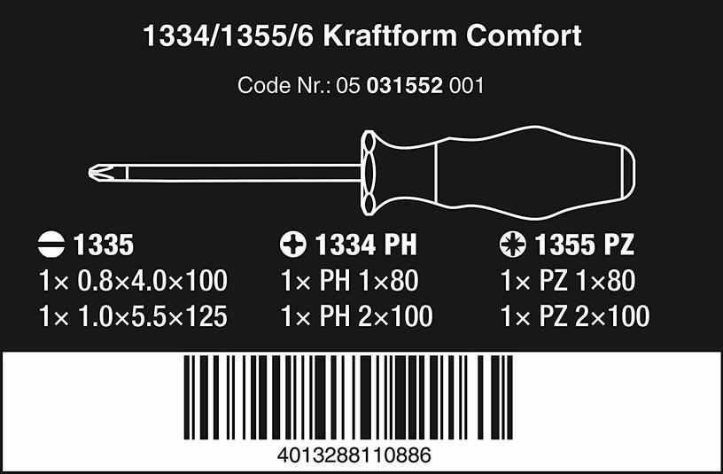 Wera Kraftform Comfort PZ/S Screwdriver Set 6pcs