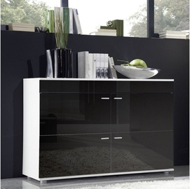 Cama Meble Logo II 120 Chest Of Drawers Black/White Gloss