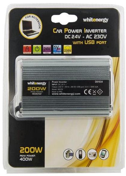 Whitenergy Power Inverter 24V DC To 230V AC USB 200W