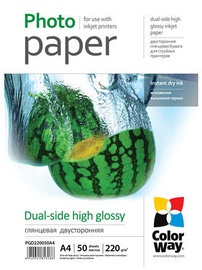 Fotopaber ColorWay Photo Paper A4 220 Dual-side High Glossy 50 Pages