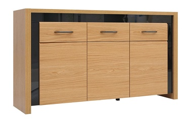 Black Red White Arosa Drawer Oak/Black Gloss