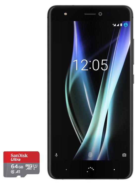 BQ Aquaris X 3/32GB Dual Mineral Black with SanDisk 64GB MicroSD Card