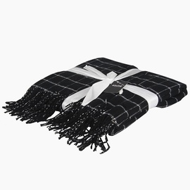 4Living Checkered Blanket 130x180cm Black